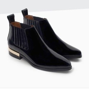 Shoes - Zara Black with Gold Ankle Boots